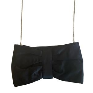 H&M Black Satin Bow Purse With Long Gold Chain